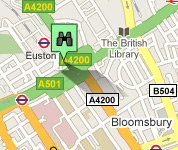 Click for map of Euston hotels