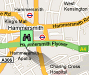 Click for map of Hammersmith Apollo hotels