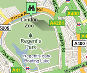 Click for map of London Zoo hotels