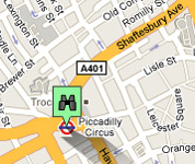Click for map of Piccadilly Circus hotels