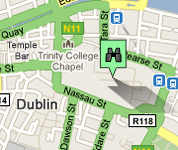 Click for map of Trinity College hotels
